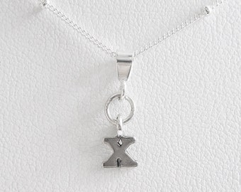Initial Letter X Mini Pendant Charm and Necklace
