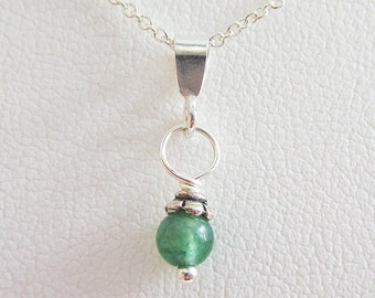 Jade 5mm Czech Glass Bead Pendant Charm and Necklace