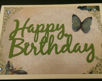 Happy Birthday Card Blue Butterflies
