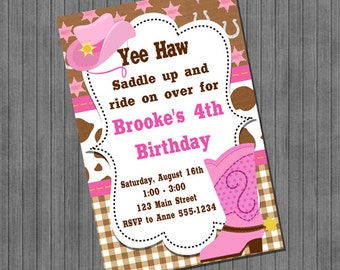 ON SALE!!  Cowgirl Birthday Invitations