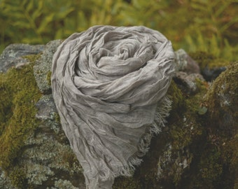 "Natural Gray Linen Scarf with fringes, Gauzy Linen Wrap, 70,8"" x 28,7"", Housewarming Gift"