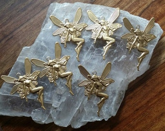 CLEARANCE 5 Gold Brass Art Nouveau Fairy Godess Charms 1 3/4""