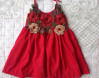 Red floral ballerina dress made-to-order