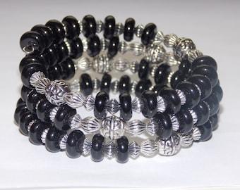 Black with Tibetan Silver Wrap Bracelet