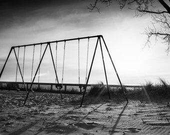 Black & White Photography - Swingset - fine art print wall photo home decor outdoors playground sunset shadows