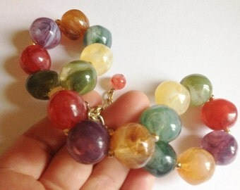 plastic large marbled beads necklace very pretty bright multi colour