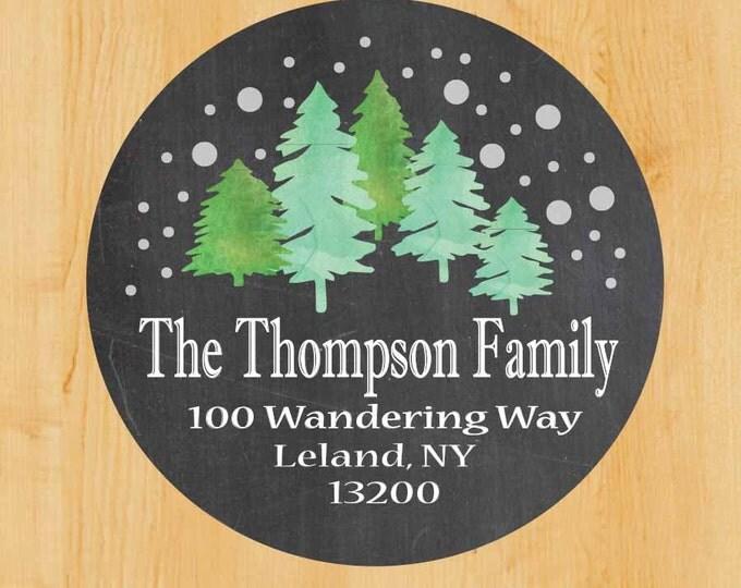 Holiday Address Labels | Winter Return address label | Stickers | Holiday Labels | Winter Wonderland | Forest Trees