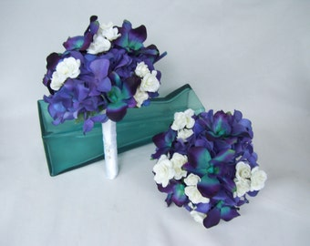 Evie's Bridesmaids Bouquet with Purple Hydrangeas, Teal Purple CA Dendrobium Orchids,White Spray Roses