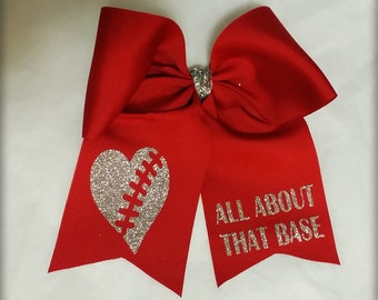 """Cheer Bow """"All About That Base"""" Red And Silver Glitter, Pony O or French Barrette, Ready To Ship"""