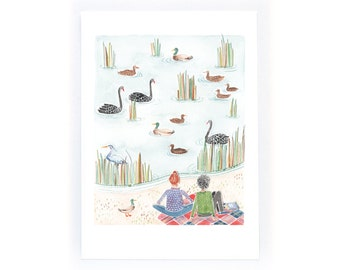 Autumn Picnic with Birds - archival art print