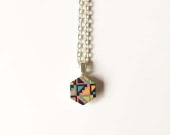 Geometric Hexagon Necklace,   wooden multicoloured pendant on silver plated chain