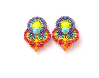 Rainbow Clip-on Earrings, Colorful Handmade Earrings, Soutache Earrings, Rainbow Jewelry, Rainbow Gift for Her