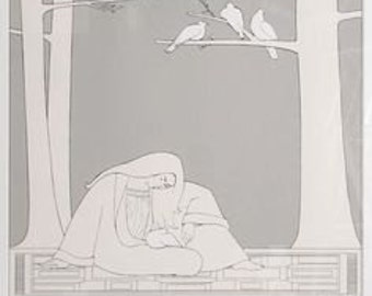 Will Barnet serigraph screen print art poster, doves, large 1978, love birds doves Wills daughter free signed book