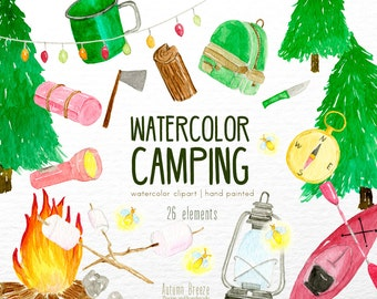 watercolor camping clipart, watercolor clipart, summer clipart, nature clipart, summer vacations