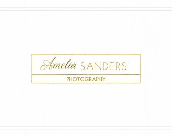 Glitter Logo, Gold Logo, Photographer Logo, Logo Design, Custom Logo, Premade Photography Modern Logo, Watermark Square Gold Logo, L013