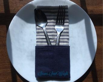 Navy Ticking Stripes cloth napkins