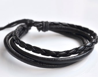 Black leather cord bracelet