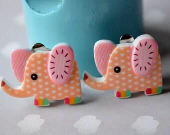 Earrings clip on orange elephant