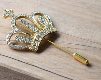Gold brooch pin rhinestone crown