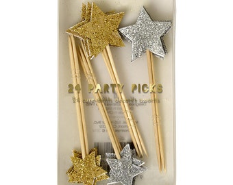 SALE - Cupcake Picks with Glittery Gold and Silver Stars - Meri Meri Cupcake Toppers
