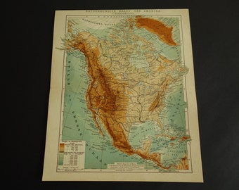North America Map Etsy - Us map 1905