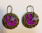 Earrings Brass Earrings Woodland Earrings Purple Earrings Green Earrings Christmas Gift