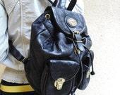 SALE Bellini Deluxe italian leather mini backpack vintage leather backpack women black rucksack / Cool leather bellini deluxe small backpack