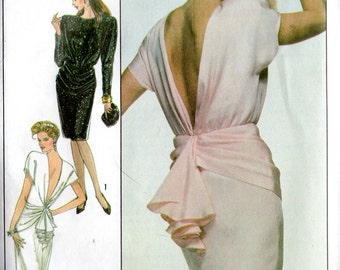 Vintage 1988 Simplicity CHRISTIE BRINKLEY Hip Drape DRESS Pattern 8944  Misses 10