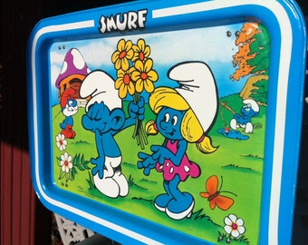 A Metal Folding Smurf Lap Tray Peyo Licensed By Wallace Berrie & Co. Van Nuys, CA