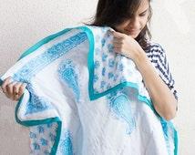 Evie crib quilt - Block print quilt - Baby shower gift   - blue nursery - cotton baby blanket - crib bedding - 36x50 inches