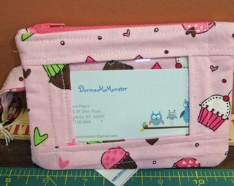 Pink Cupcake Fabric ID Holder Purse - wallet Purse