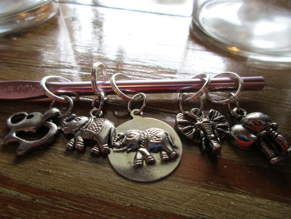Set of Five Elephant Stitch Markers For Knitting
