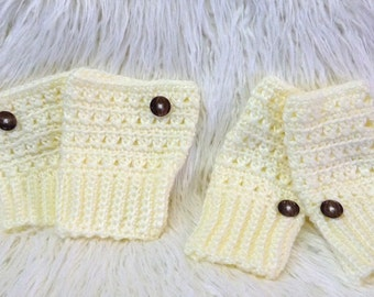 Crochet boot cuffs and fingerless gloves set