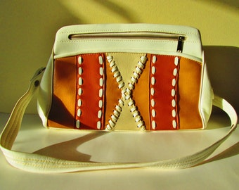 White Leather Purse, Vintage Handbag, Adjustable Strap, Women's Fashion Accessories