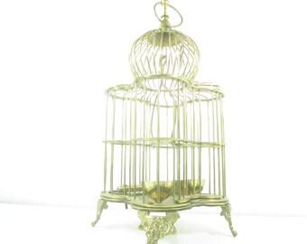 Vintage Brass Birdcage, Antique Style, shabby chic decor, bird cage, metal birdcage, wedding decor, cottage decor, wire birdcage,