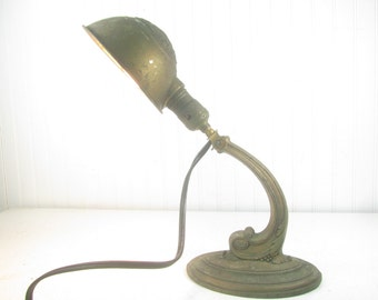 Vintage desk lamp, Miller Lamp, antique lamp, industrial, iron lamp, vintage light, metal light, Art Deco lamp