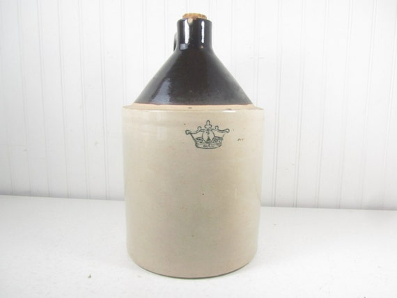 Antique Crock Crown 1 Whiskey Jug Salt Glaze Farmhouse