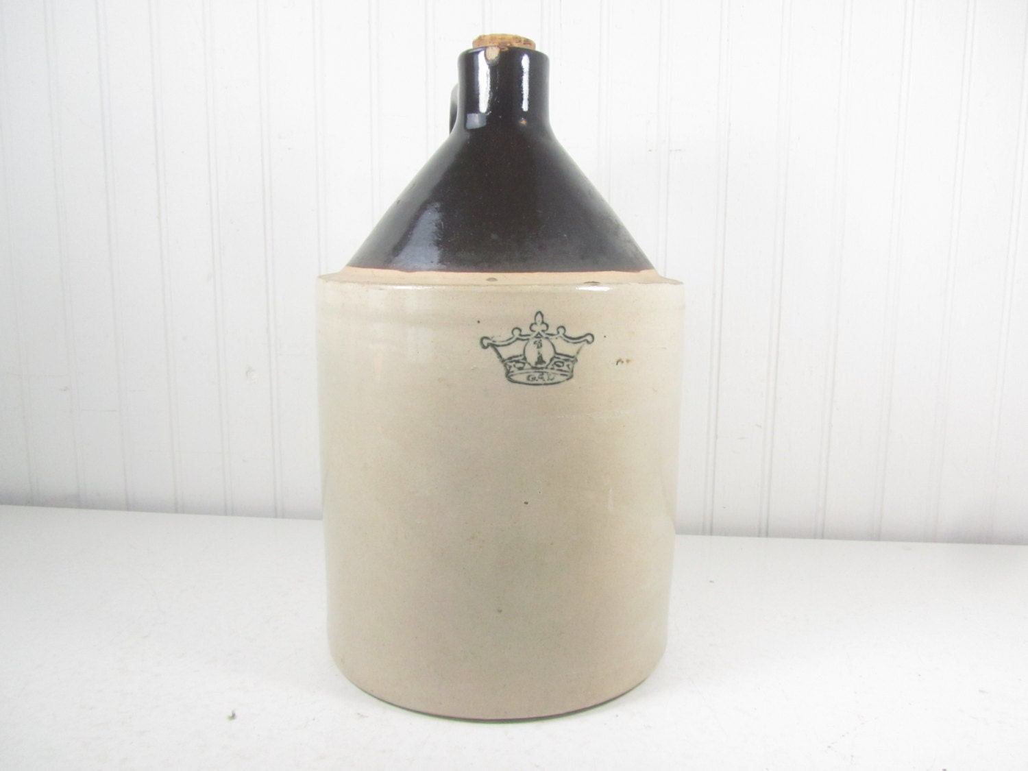 Antique Crock Crown 1 Whiskey Jug Salt Glaze Farmhouse