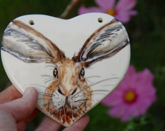 hand painted ceramic hare heart