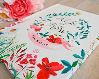 Garden Guest Book • Watercolor Boho Floral Summer Wedding • Wildflowers Outdoor Wedding Custom GuestBook • 8 x 10