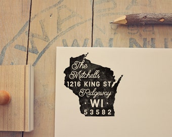 Wisconsin Return Address State Stamp - Personalized Rubber Stamp