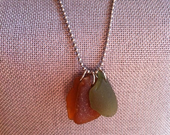 Three piece beach glass necklace