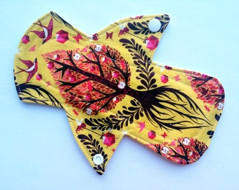 """Lucy & Mabs 8""""  MODERATE Reusable Menstrual pad /mama cloth Bamboo core/ Specialty Print/ Tree of Life"""