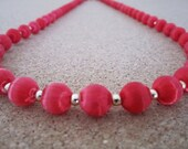 Vintage Silk Bead Necklace - Ruby Red Color - Retro Jewelry - Use, Upcycyle or Recycle