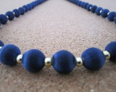 Vintage Silk Bead Necklace - Royal Blue Color - Retro Jewelry - Use, Upcycyle or Recycle