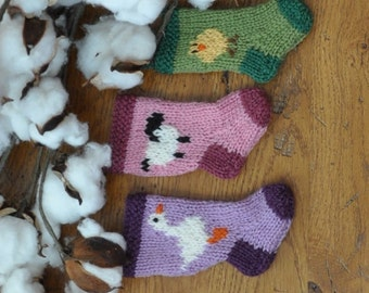Goose, Chick & Sheep Hand-Knit Easter Stocking Ornaments - Set of 3