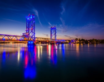 The Memorial Bridge over the Piscataqua River at night, in Portsmouth, New Hampshire. | Photo Print, Stretched Canvas, or Metal Print.
