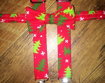 Christmas /Winter/Holiday/print Boys bowtie and Suspender/red &green tree/great for pictures for cards or Santa -toddler/boy/infant  outfit