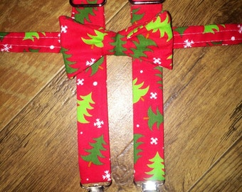Boys Christmas/Holiday/print Boys bowtie and Suspender/red &green tree/great for pictures for cards or Santa -toddler/boy/infant  outfit