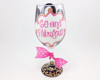 FREE SHIPPING ON 7 Plus 60 and Fabulous Wine Glass Damask Personalized Custom Name 60th Birthday 30th 40th 50th 60th